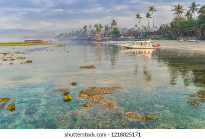 Coral in the turquoise water of the Candidasa coast in Bali, Indonesia