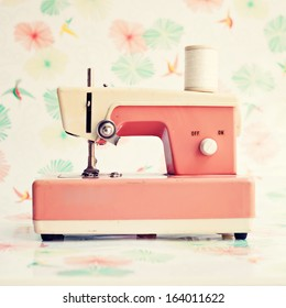 Coral vintage sewing machine