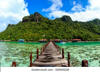Corals reef and islands seen from the jetty of Bohey Dulang Island, Sabah, Malaysia.
