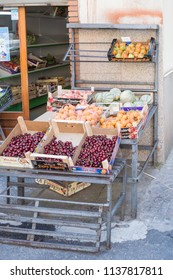 Corana,Sicile,Europe-09/06/2018.Display of fruits with apricots, cherries, melons and tomatoes in the city of Corona in northern Sicily.
