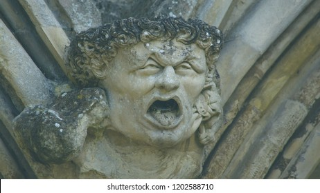 Corbel Head on The West Front of Salisbury Cathedral C, Gargoyle on Early English Gothic Cathedral, shallow depth of field split toning horizontal photography