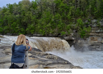 Corbin, Kentucky - April 29, 2014: Photographing Cumberland Falls Home of the only consistent Moonbow in the Northern Hemisphere