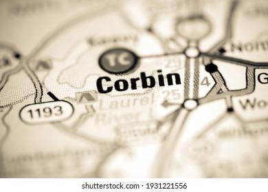 Corbin. Kentucky. USA on a geography map
