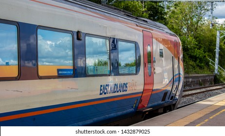 Corby Northamptonshire UK June 2019 : East Midlands train waiting to depart to St Pancreas