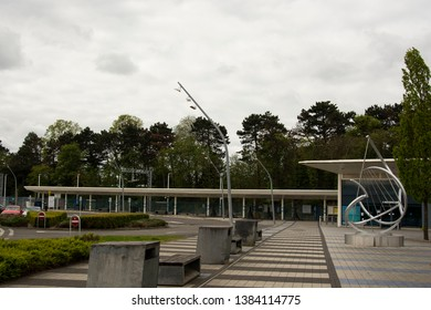 Corby, U.K, April 28, 2019 - Train Station in Corby Northamptonshire Street view landscape