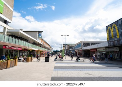 Corby, UK - August 01, 2021 - Outdoor street, shopping centre. English city