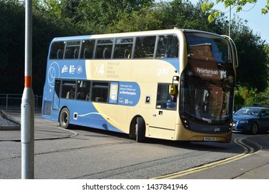 Corby, U.K., June 20, 2019 - two floored public bus of Corby city inner transportation line