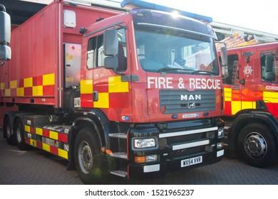 Corby, U.K. September 14, 2019 - British fire engine open doors fire station event