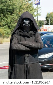 Corby, U.K. September 14, 2019 - a man in costume Darth Vader at British fire engine open day family event at fire station in Corby