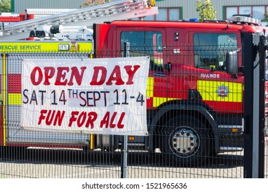 Corby, U.K. September 14, 2019 - Open day event. British fire engine., fire station in Corby. Family fun day.
