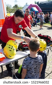 Corby, U.K. September 14, 2019 - British fire engine open day family event at fire station in Corby