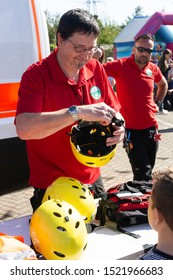 Corby, U.K. September 14, 2019 - British fire engine open day family event at fire station in Corby,