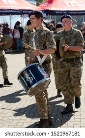 Corby, U.K. September 14, 2019 - army band playing at musical instruments at British fire engine open day family event at fire station in Corby, U.K military musician