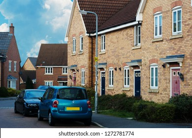 Corby, United Kingdom - 01 January 2019. Traditional english house, brick house. Outdoor street view