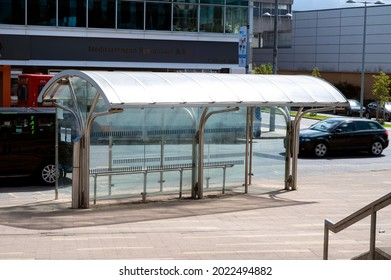 Corby, United Kingdom, August 01, 2021: bus station, town centre, modern glass bus station street