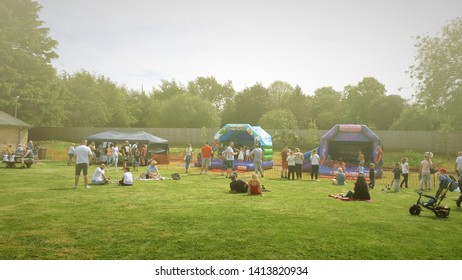 Corby, United Kingdom. June 01, 2018.  Celebrating child care day. People having fun at an outdoor festival