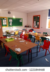 Corby, United Kingdom. November 3, 2018 - empty classroom in primary school. Education process. Vertical image.
