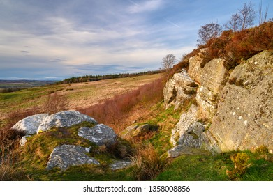 Corby's Crag near Edlingham, overlooking the hamlet of Edlingham in Northumberland, England and is popular with rock climbers