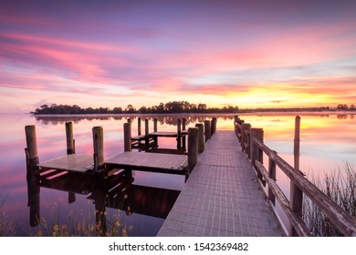 Corcoran Park jetty sunrise, Grafton, new South Wales, Australia