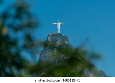 Corcovado Hill and statue of Christ the Redeemer. Rio de Janeiro, Brazil on August 3, 2014.