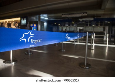 Cord with logo of Fraport Greece in SKG airport. Thessaloniki, Greece - 12 December 2017