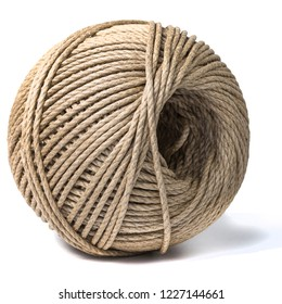 Cord skein, hemp roll, linen cord natural ball, isolated on white background