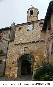 Cordes sur Ciel, France - July 2019: narrow streets of old medieval town in Occitan region