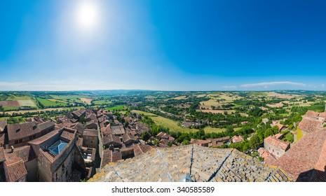 Cordes-sur-Ciel, a village near Albi in Tarn, Midi-Pyrenees, Southern France, as seen from Saint Michel Church belltower.