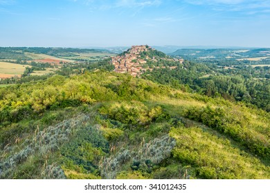 Cordes-sur-Ciel, a village near Albi in Tarn, Midi-Pyrenees, Southern France, as seen from the eastern viewpoint.