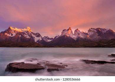 Cordillera del Paine. Gigantic granite monoliths. Cuernos del Paine. Torres del Paine National Park. Chile. South America. UNESCO biosphere.