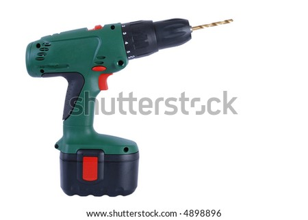 Cordless battery powered drill with titanium bit isolated on white background