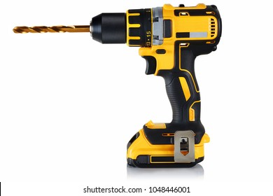 cordless drill, screwdriver with drill bit on white background