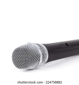 Cordless microphone closeup on white background