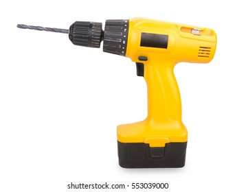 Cordless screwdriver with a drill isolated on white background