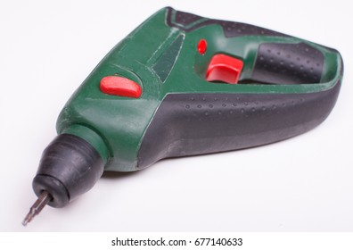 Cordless screwdriver with a drill isolated on white background.