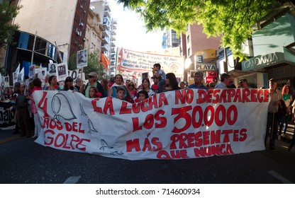 Cordoba, Argentina - March 24, 2016: Demonstrations on the Day of Remembrance for Truth and Justice (Día de la Memoria por la Verdad y la Justicia), commemorating the victims of the Dirty War.