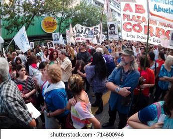 Cordoba, Argentina - March 24, 2016: Demonstrations on the Day of Remembrance for Truth and Justice (Día de la Memoria por la Verdad y la Justicia), commemorating the victims of the Dirty War.