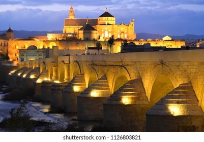 Cordoba Bridge Lit up at night