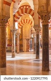 CORDOBA, SPAIN - 16 MAY, 2018: Decorated interior of the Great Mosque, Mezquita in Andalusia on 16 May, 2018 in Cordoba, Spain.