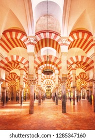 CORDOBA, SPAIN - 16 MAY, 2018: Decorated interior of the Great Mosque, Mezquita in Andalusia on 16 May, 2018 in Cordoba, Spain
