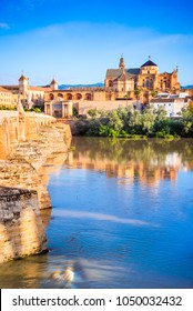 Cordoba, Spain. Andalusia medieval sight with Great Mosque, Mezquita and Roman Bridge.