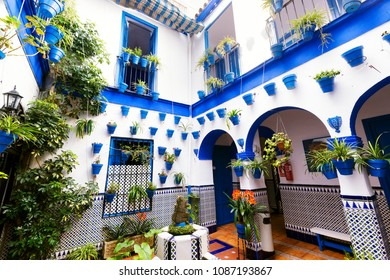 Cordoba , Spain - april 05 , 2018: typical andalusian courtyard , world heritage