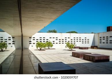 Cordoba, Spain - April 11, 2017: Madinat Al Zahara Museum designed by  Nieto Sobejano Arquitects. Main courtyard