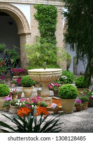 CORDOBA, SPAIN - April 15, 2018:  Courtyards of Viana- 12 beautiful  patios and gardens, famous tourist attraction near the Viana Palace.