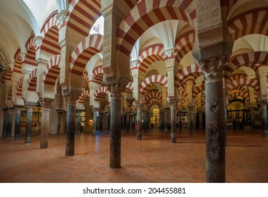 CORDOBA, SPAIN - April, 18, 2012: Interior of Mezquita-Catedral, a medieval Islamic mosque that was converted into a Catholic Christian cathedral.