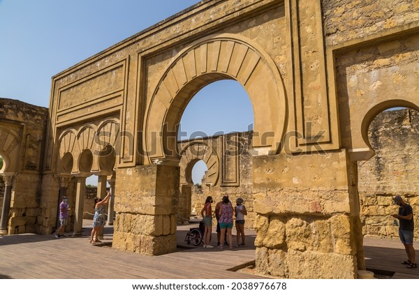 Cordoba, Spain - August 12, 2021: Palace of Medina Azahara, arab city founded in the year 936 by Abderraman III about 8 km from Cordoba, Andalusia, Spain