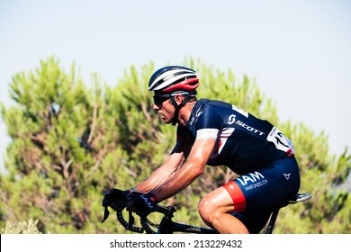 CORDOBA, SPAIN - August 26th: Sebastien Hinault (IAM Cycling) passing the last port of the 4th stage of the tour of Spain (La Vuelta) 2014