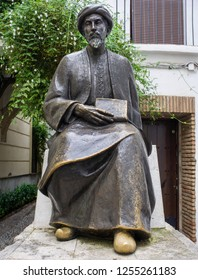 Cordoba, Spain - Dec 31th, 2018: Sculpture of Maimonides, medieval Sephardic Jewish philosopher by Amadeo Ruiz Olmos sculpter. Cordoba, Spain