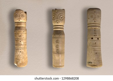 Cordoba, Spain - Dec 7th, 2018: Chess pieces from Caliphal Period, 10th Century at Cordoba Archaelogical Museum, Spain