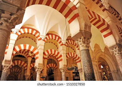 Cordoba, Spain - July 12, 2012: Al Andalus architecture in the Mosque of Cordoba (Mezquita de Córdoba) World Heritage Site by Unesco, one of the most famous monuments of Andalusia and Spain.